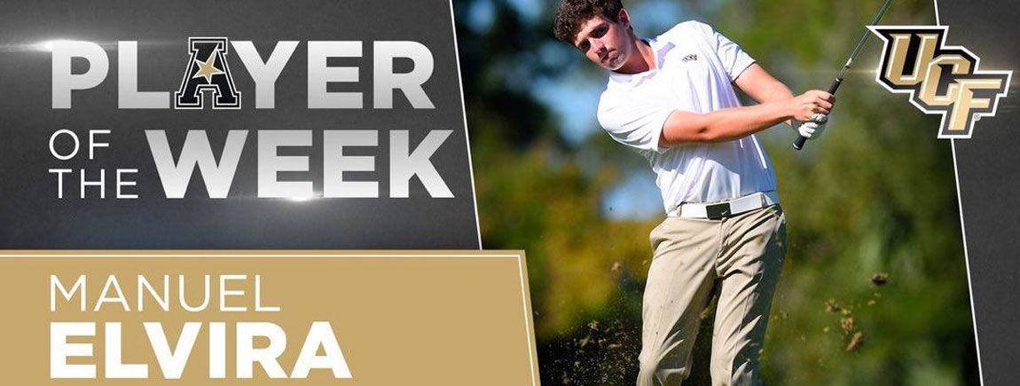 Manuel Elvira, ha sido nombrado American Athletic  Conference Mens Golf Player of the Week